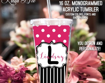 Monogrammed Acrylic Tumbler, Personalized Cup, Monogrammed Acrylic Cup with Straw, Monogram Gift, Personalized Gift, Bridesmaid Gift TM2