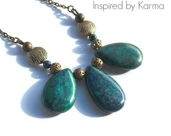 Lapis Lazuli w/ Chrysocolla Necklace -Holiday Shopping/Gifts Under 35/OOAK/Gemstone Jewlery/Woman's Jewelry