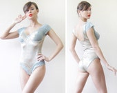 Vintage beige blue lace panel underwired bust cup leotard bodysuit L