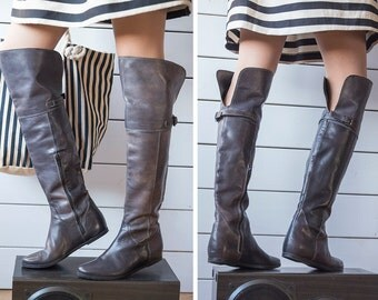 Italian vintage dark grey leather tall over the knee low heel pirate boots Size 37 7