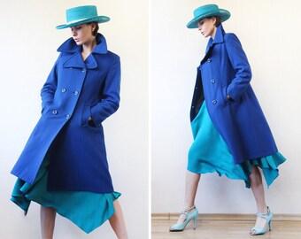 Vintage electric blue heavy wool double breasted oversized collar warm winter women coat XS-S