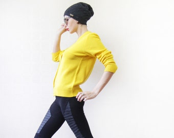 Sunny yellow knitted long sleeve cardigan sweater top