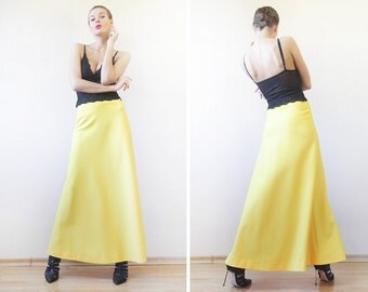 70s Vintage bright sun yellow wide flared A-line floor length maxi skirt XS