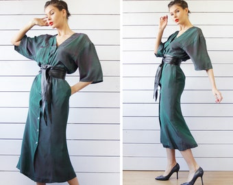 JIL SANDER vintage iridescent green free top fitted skirt elegant evening maxi dress XS