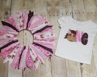 Made to Order - Horse Applique One Shirt with Cowgirl Scrap Tutu - Pink Bandana, Gingham, Brown Polka Dot, Lace - 1st Birthday Outfit