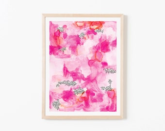 Pink Watercolor Abstract Nursery Art. Nursery Wall Art. Nursery Prints. Nursery Decor. Girl Wall Art. Pink Watercolor Art. Instant Download.