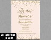 Blush Gold Bridal Shower Invitation pink glitter printable pdf & jpg