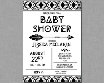Black and White Aztec Baby Shower Invitations tribal arrow BD75 Digital or Printed