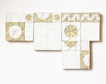 Set of 4 Collage Art Tiles - Interactive Art - Origami Art - Book Paper Art - Wall Sculpture - Modern White Home Decor - Contemporary Art