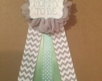 Mint Grey Baby Shower Pin Mommy To Be Pin Flower Ribbon Pin Corsage mom to be mommy to be mama gender neutral its a boy