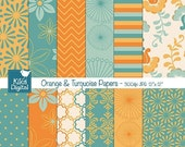 70% Sale Orange and Turquoise Digital Papers - Digital Scrapbooking Papers - card design, invitations, background, paper crafts - INSTANT DO