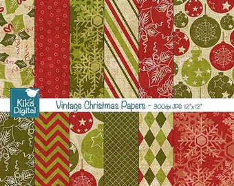 70% SALE Texture Vintage Christmas Digital Papers -  Scrapbooking Papers - card design, invitations, paper crafts, web design - INSTANT DOWN