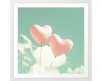SALE, Girl nursery decor girl nursery wall art girl, toddler girl room decor, balloon wall art, heart balloon, mint, pink, nursery canvas