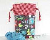 Knitting Tote Bag, Medium Knitting Project Bag, Drawstring Bag - Dogs at Christmas Gift Bag