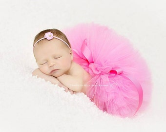 PINK TUTU with Skinny Headband, Newborn Tutu Set, Newborn Tutu, Baby Tutu, Pink Tutu, Newborn Photo Prop, Photo Prop, Tutus for Children