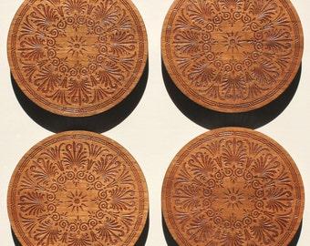 Greek design laser engraved Cherry coasters - set of 4