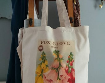 Hand Printed floral seed packet reusuable shopping bag