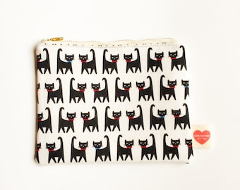 Kawaii pouch black cat-kitty purse-cat pouch-teen girl pouch-pencil case-cosmetic pouch-cosmetic purse-love factory NY