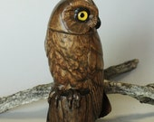 Hand Carved Owl Wood Carving Stylized Saw Whet Owl Bird Wood Sculpture Collectible Wildlife Art Wood Bird Figurine for Anniversary Gifts