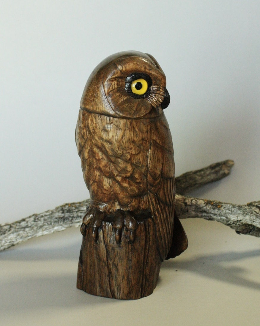 Hand carved owl wood carving stylized saw whet bird
