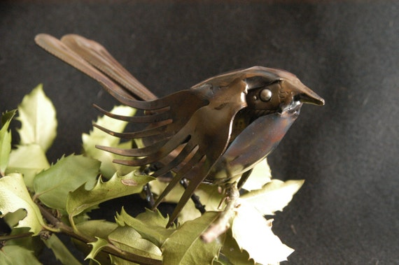 bird gift figurine - Spoon Bird - metal table art - shelf art gift - metal table decor - birdie 2016 - gifts under 50 - his mom gift