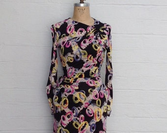 1940s Party Dress - Vibrant Colors, Long Sleeve, High Neckline