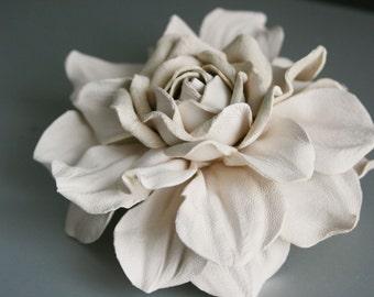 Soft Cream Leather Rose Flower Brooch/Hair Clip