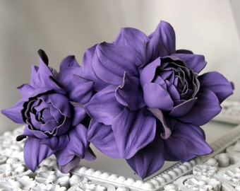 Lilac Leather Roses Headband