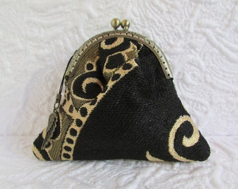 14A - Coin purse - Fabric with Metal Frame, handmade, wallet