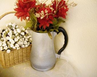 Vintage 1950s Guardian Service Hammered Aluminum Coffee Pot Water Pitcher Vase Centerpiece Prairie Farmhouse Bungalow / Wedding Decor