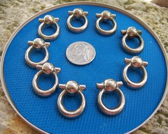 Set of 9 Vintage Silver Tone Shank Buttons Door Knockers