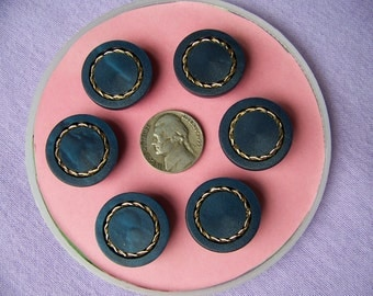 Set of 6 Vintage Navy Blue & Gold Shank Buttons