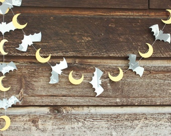 Bat Garland, Halloween Garland, Halloween Decoration, Halloween Party Decorations, Bat Bunting, Moons, Made to Order, 6 feet long