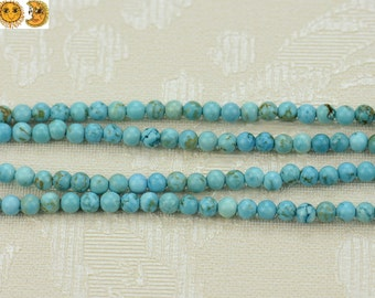 15 inch strand of Blue Turquoise smooth round beads 4mm