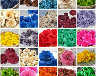 SAMPLE PACK- 12 Pcs Wooden Roses for Weddings, Home Decorations, Scrapbooking and Floral Arrangements