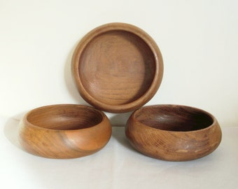 3 vintage wooden bowls, Bol en bois, Bowl, 1960, Café au lait, Rustic, Danish, Scandinave, Farm house, Retro kitchen