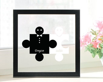 Personalized Name Puzzle, Traditional One Year Anniversary Gifts, Ideas for 1st Wedding Anniversary, Gift for Marriage Anniversary, Papercut