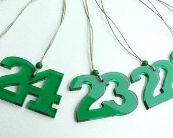 Advent calendar numbers acrylic glass beads 1-24 Green