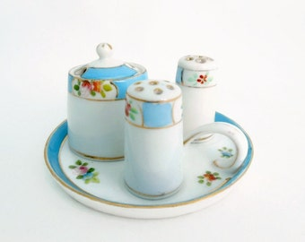 Noritake Condiment Set, Hand Painted, Morimura Brothers, 1930's, Blue Pink and Rust