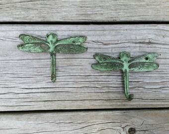 Cast Iron Dragonfly Hooks (pair) - Kitchen Towel Holder - Pot Holder Hooks - Metal Art - Gift for Her - Gardener Gift