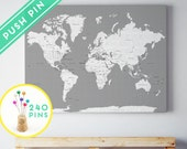 Canvas Large World Map Rustic Gray Color - Countries, Capitals, USA - CANADA states - 240 Pins
