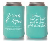Wedding Koozies, To Have & To Hold, Personalized Can Coolers, Wedding Favors, Beer Sleeves, Can Sleeves, Can Coolers, Robin Egg Blue - T329