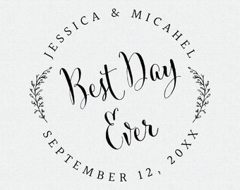 Best Day Ever Wedding Favor Stamp, Wedding Favor Tags, Personalized Wedding Favor Stamp, Self Inking Stamp (T310)