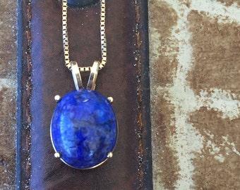 Lapis Gold Necklace - Lapis Lazuli 14k Yellow Gold Pendant