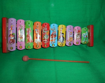 One (1), 1950's, Child's Tin Toy Xylophone, with Striker.