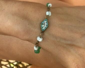 Micro Mosaic Bracelet 1920 1930 Romantic Vintage Bridal Wedding Jewelry Peking Glass MOP Mother Pearl