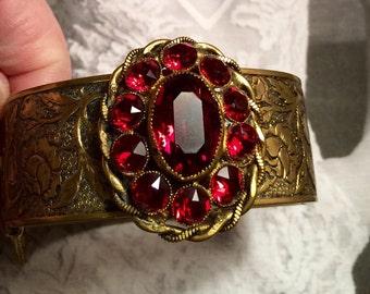Art Deco Nouveau Bracelet Red Czech W West Germany