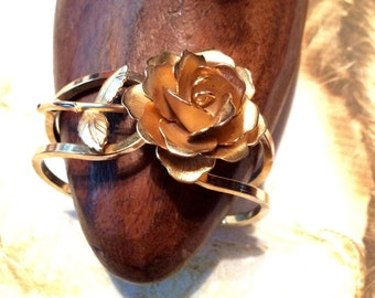 Giovanni Rose Bracelet Romantic Blossom Clamper 1950 1960
