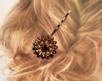 SALEWindyDays Decorative Hair Pin Jewelry 1940's Czech Amethyst Pearl Rhinestone Hairpin