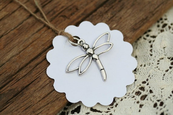 Wedding Favor Charms Tags : ... Tags For Favors White Tags Scalloped Tags Dragonfly Charms Eco Wedding